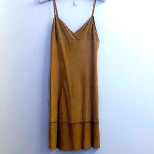 THEORY SUEDE HONEY-COLORED PLUNGE-V DRESS: Sz.0